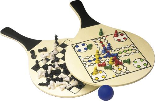 Strandspiel 'Lido' aus Holz mit Ludo/Schach/Dame-Design,... Artikel-Nr. (2582)