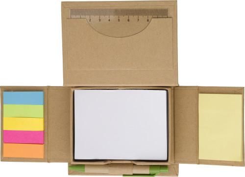 Zettelhalter 'Perth' aus Karton, 6x 25 Haftnotizen, 150 Notizblätter, Visitenkartenhalter, inklusive Kugelschreiber mit blauer Mine - Bild vergrößern