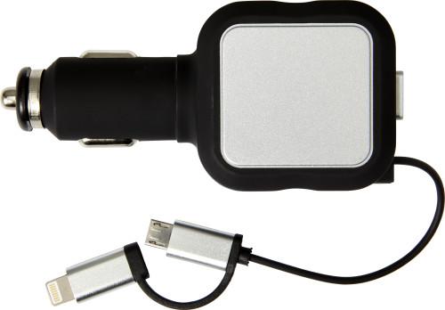 KFZ-Ladestecker 'Square', 2x Mikro-USB und 1x Lightning, aus Kunststoff mit Ausziehkabel, Input: 12V/24V, Output: 5V/4,8A, Kabellänge ca. 80 cm - Bild vergrößern