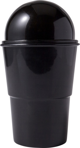 Mini-Mülleimer 'Push' aus Kunststoff, einsetzbar als Tischmülleimer oder KFZ-Mülleimer (Platzierung im Getränkehalter) - Bild vergrößern