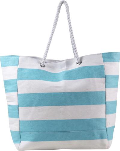 Strandtasche 'Ludo' aus Baumwolle/Polyester, gestreift, lange Tragegriffe, Magnetverschluss - Bild vergrößern